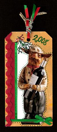Pig-With-Mistletoe&Wine-Tag
