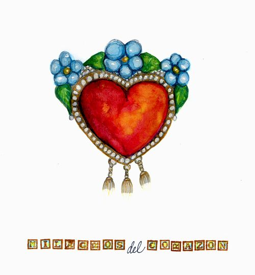 Milagro,Corazon watercolor drawing
