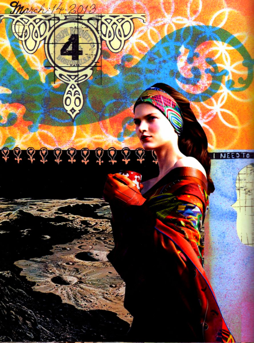 art journal page, collage, stencils